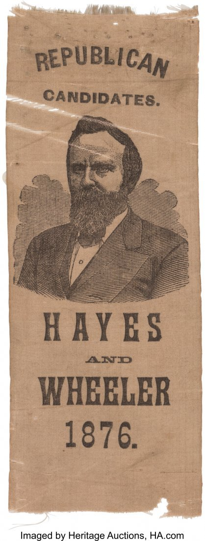 43296: Rutherford B. Hayes: Unusual Silk Portrait Ribbo