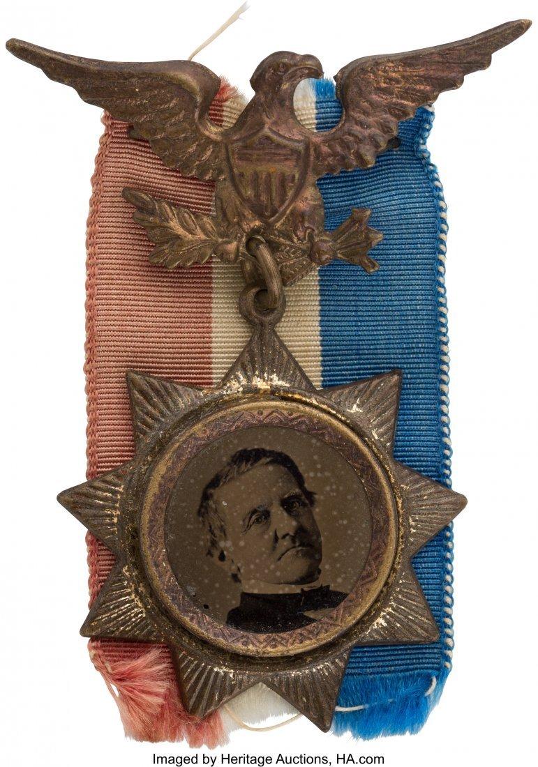 43300: Samuel J. Tilden: Ferrotype Badge with Eagle Han