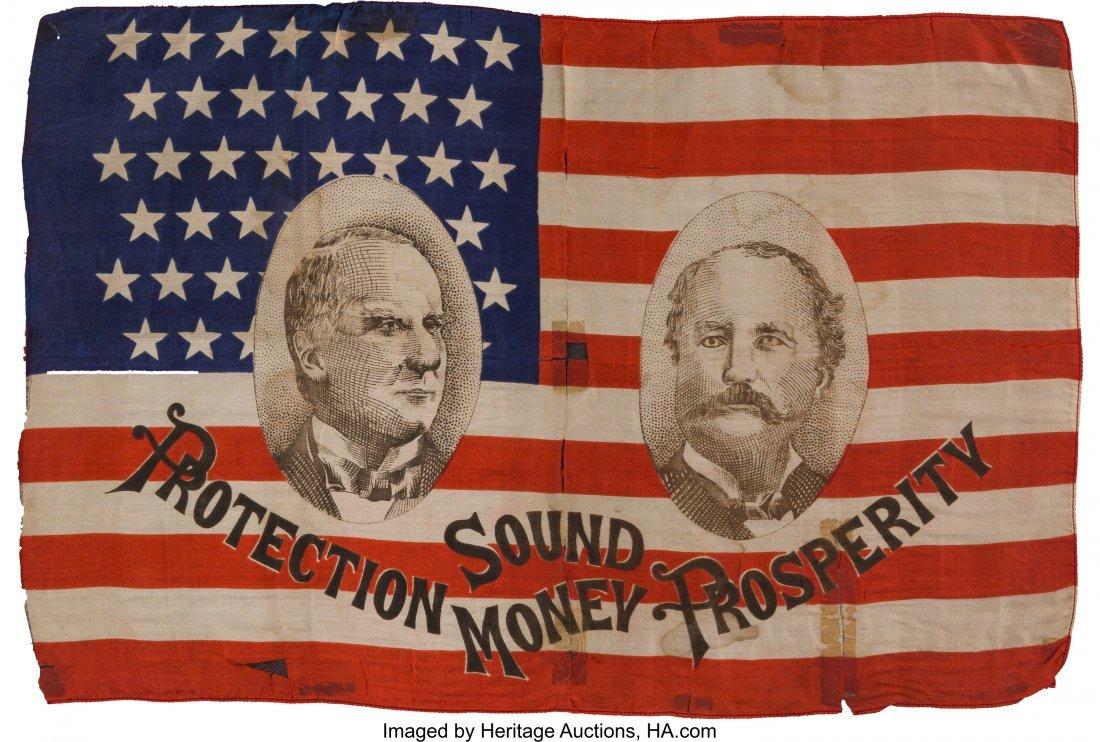 43396: McKinley & Hobart: Rare Jugate Silk Campaign Fla