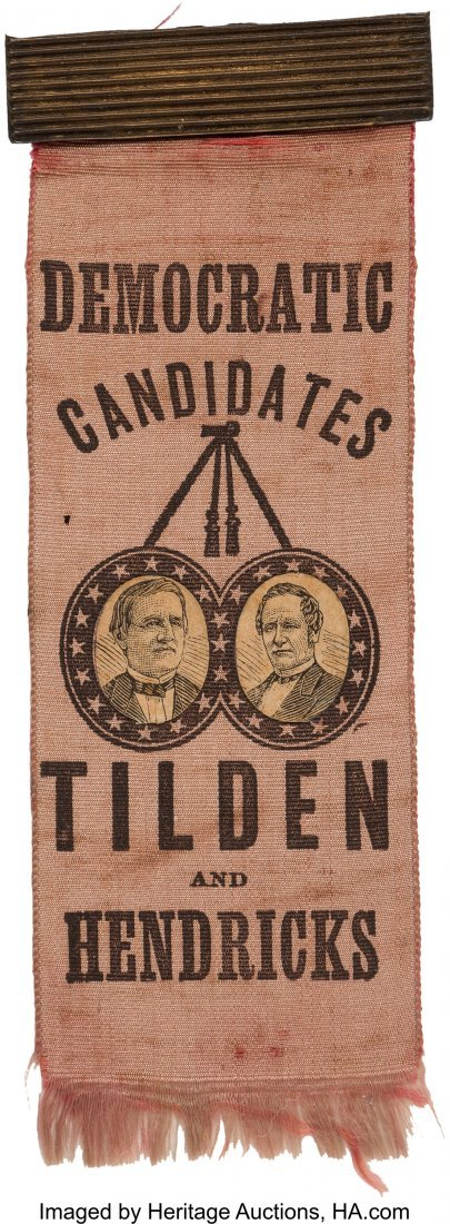 43302: Tilden & Hendricks: Rare Jugate Ribbon with Appl