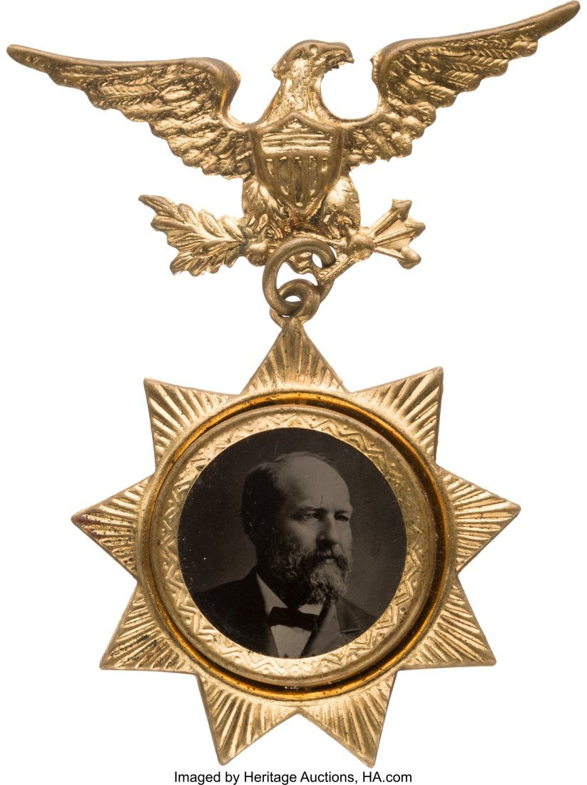 43303: James A. Garfield: Choice Ferrotype Badge.  Simi