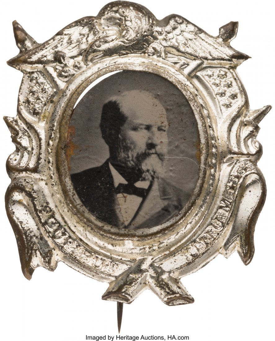 43305: James A. Garfield: Bright and Showy Ferrotype Ba