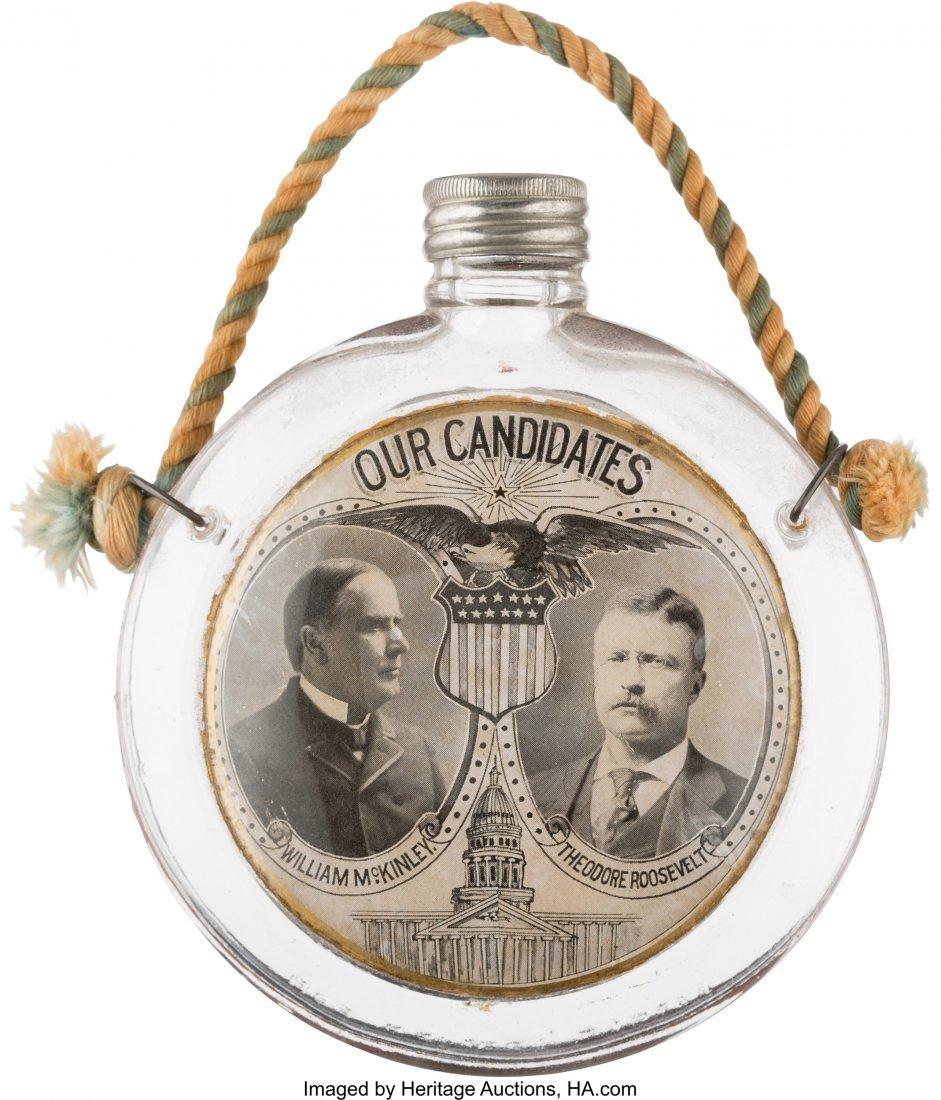 43401: McKinley & Roosevelt: Popular Jugate Glass Cante
