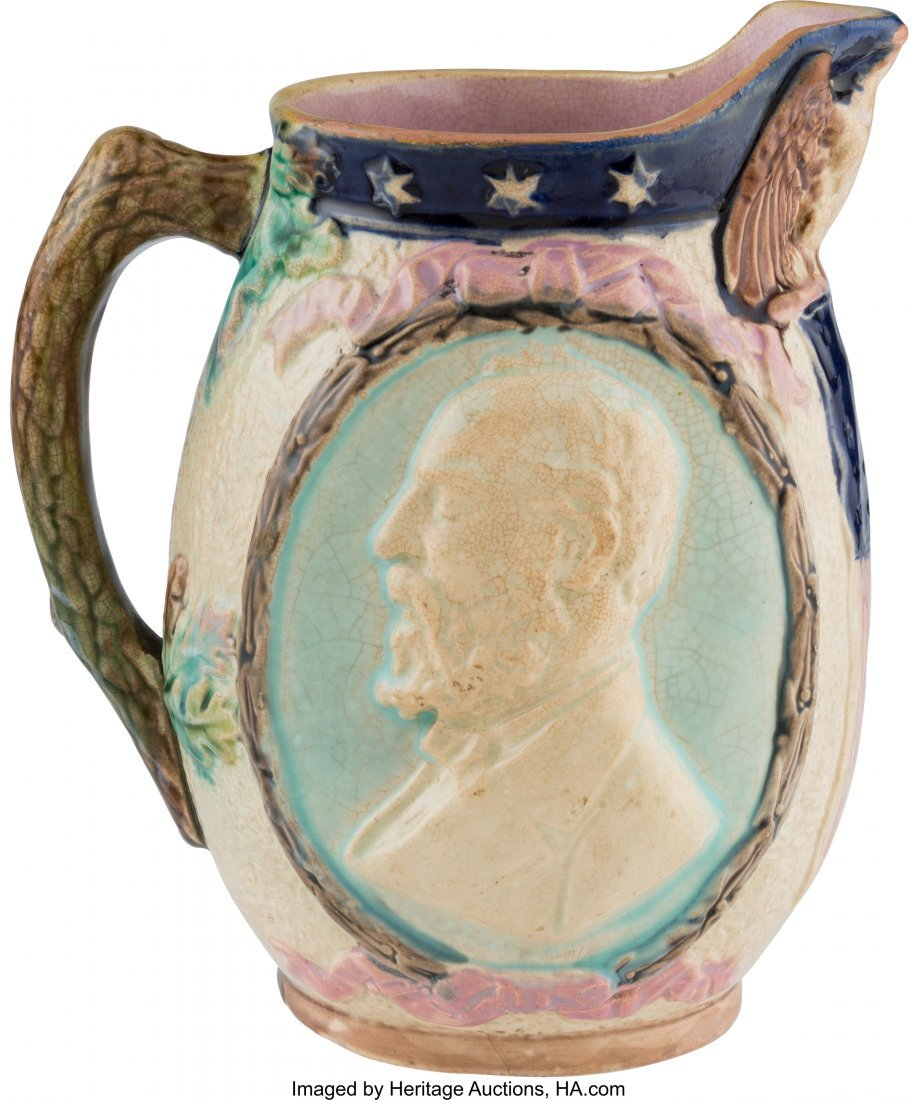 "43308: James A. Garfield: Majolica Pitcher. 6.75"" tall"