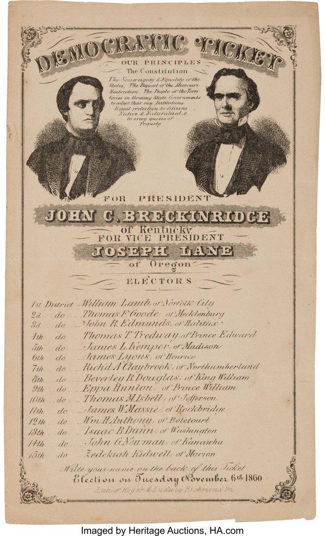 43211: Breckinridge & Lane: Large 1860 Jugate Electoral