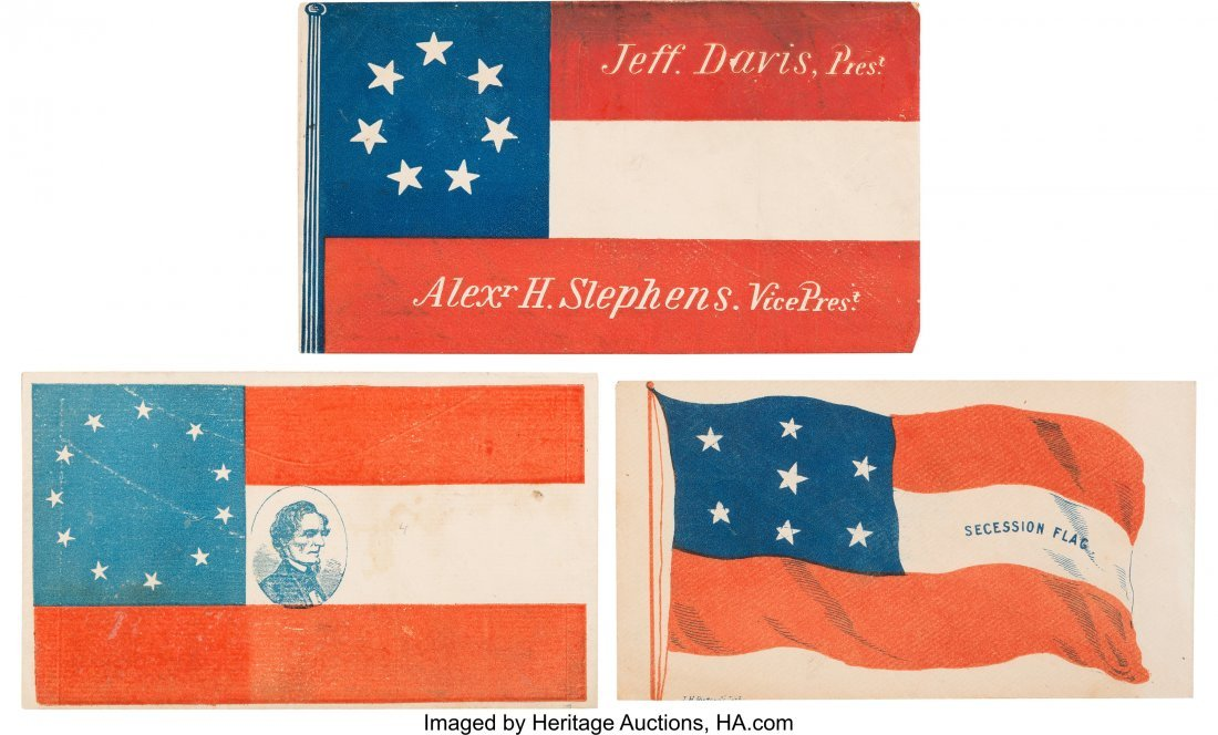 "43217: Jefferson Davis: Three Civil War Patriotic ""Flag"