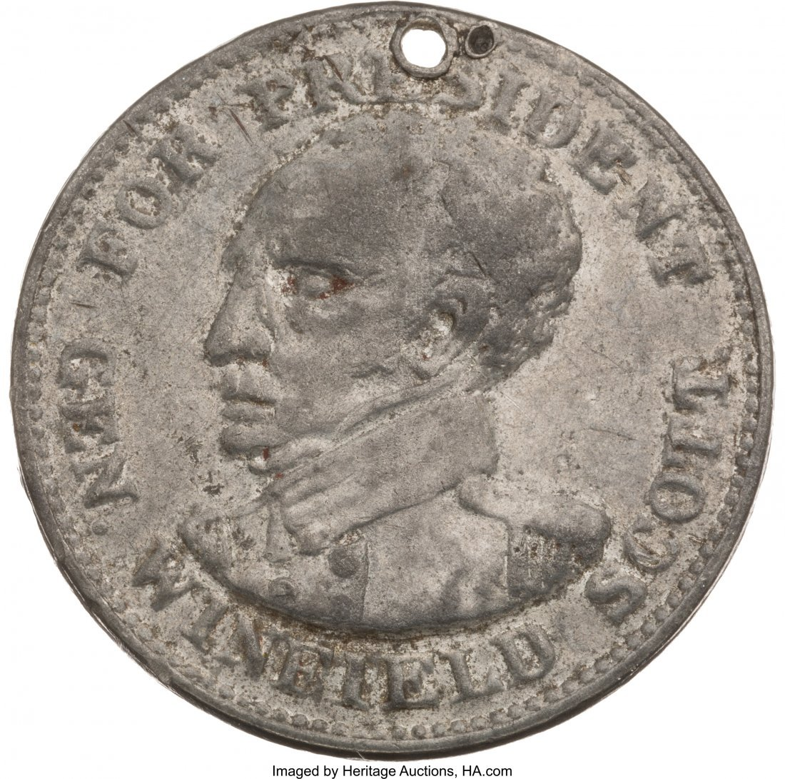 43120: Winfield Scott: Rare Lundy's Lane Medal. WS-1852