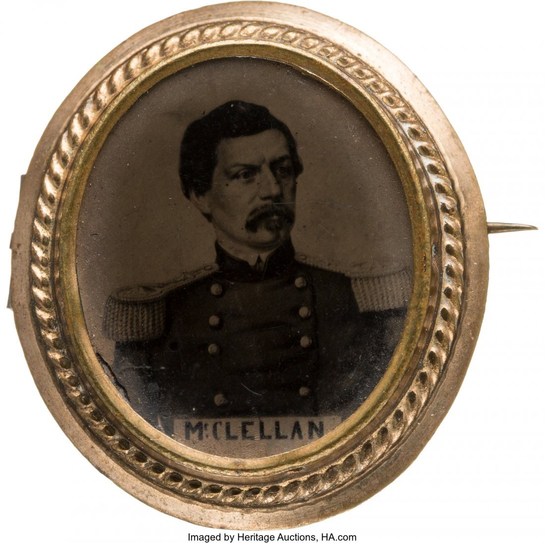 43223: George B. McClellan: Unlisted Ferrotype Brooch.