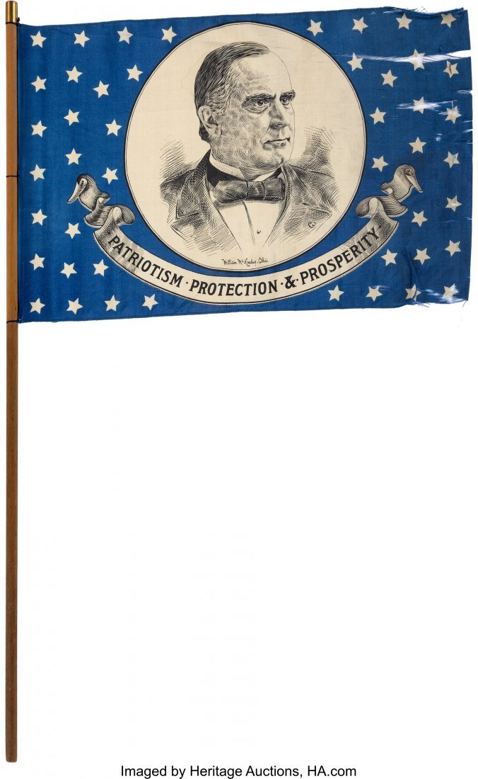 43409: William McKinley: Silk Portrait Flag on Original