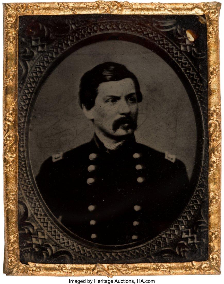 43224: George B. McClellan: A Lovely Ruby Ambrotype. Ni