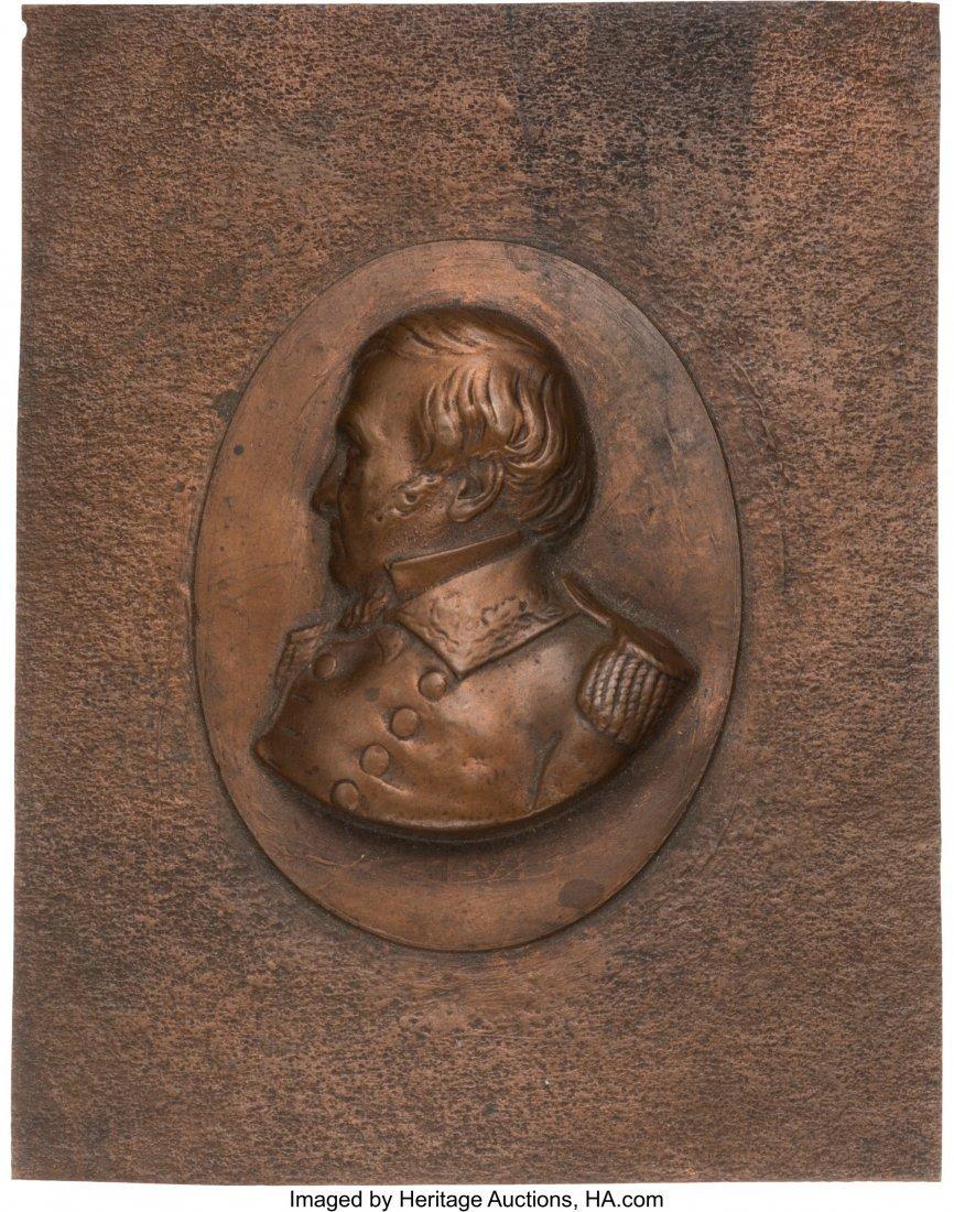43121: Winfield Scott: High Relief Copper Shell Plaque.