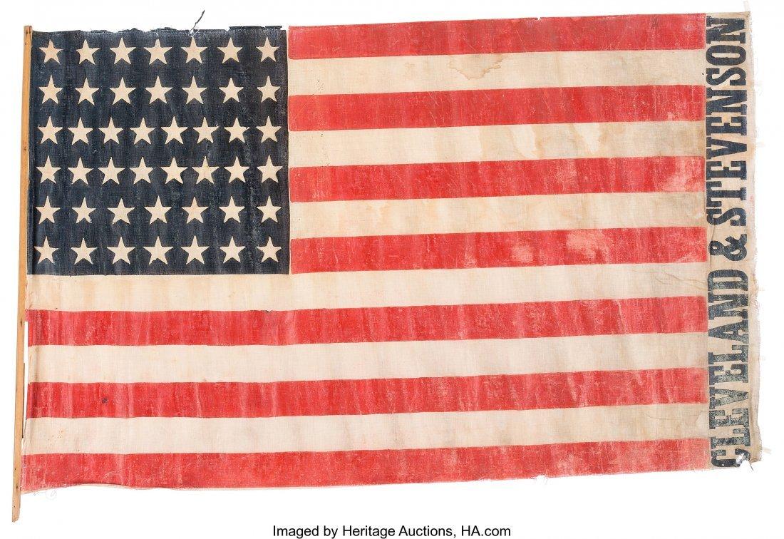 """43327: Grover Cleveland: 1892 Name Flag. 45"""" x 28"""" glaz"""