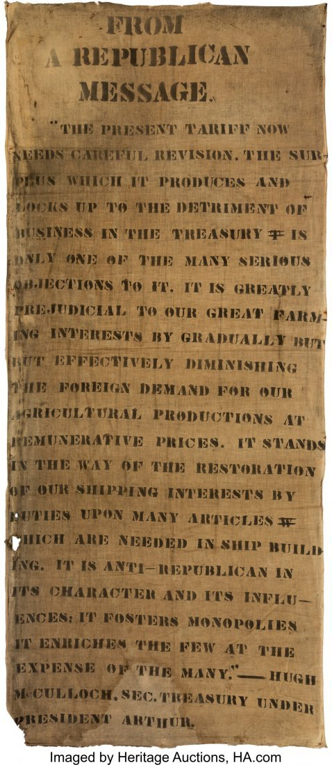 43331: [Grover Cleveland]: Anti-Tariff Banner Referenci