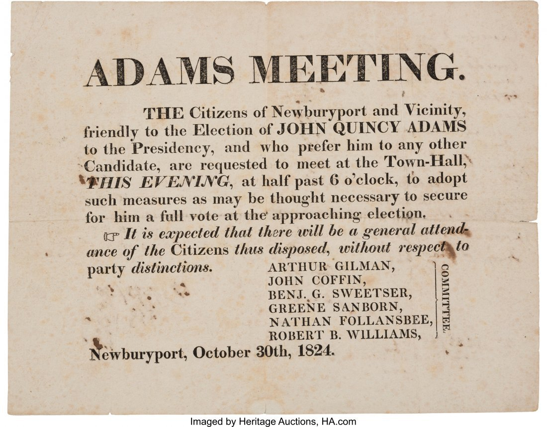 43035: John Quincy Adams: A Rare 1824 Massachusetts Bro