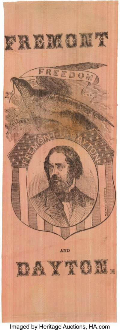 43131: John C. Frémont: Wonderful Portrait Ribbon with