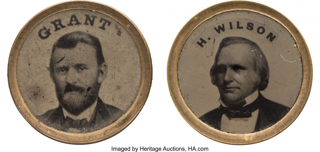 43243: Grant & Wilson: Matching Ferrotype Badges. Inter