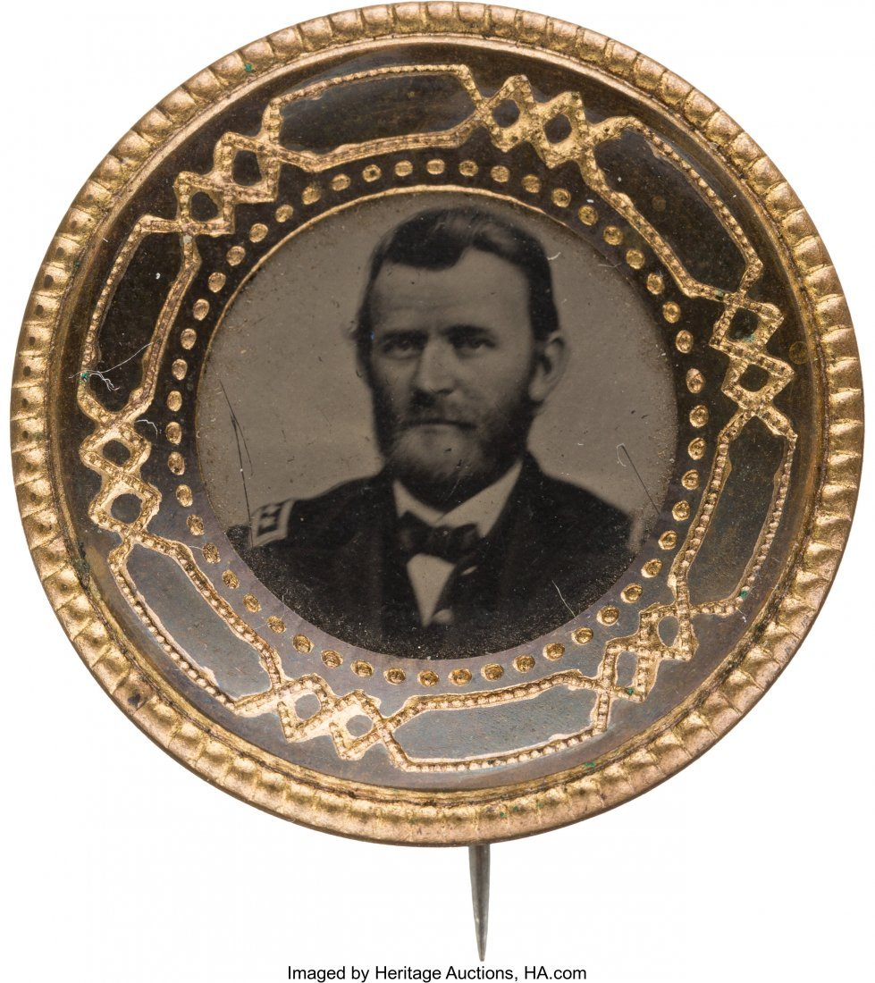 43244: Ulysses S. Grant: Unlisted Ferrotype Badge in Di