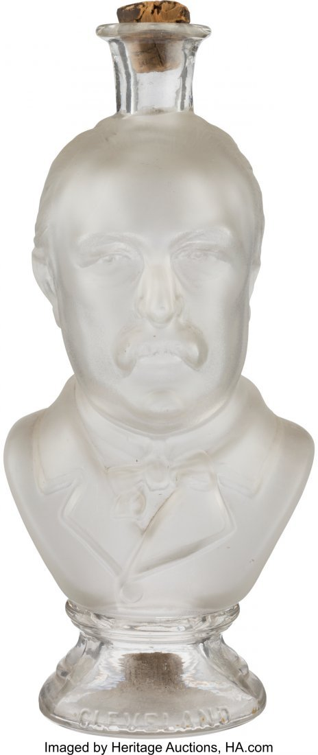 43345: Grover Cleveland: Frosted Glass Figural Bottle.