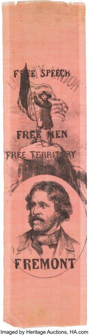 43134: John C. Frémont: Lovely Dual-Portrait Silk Ribb