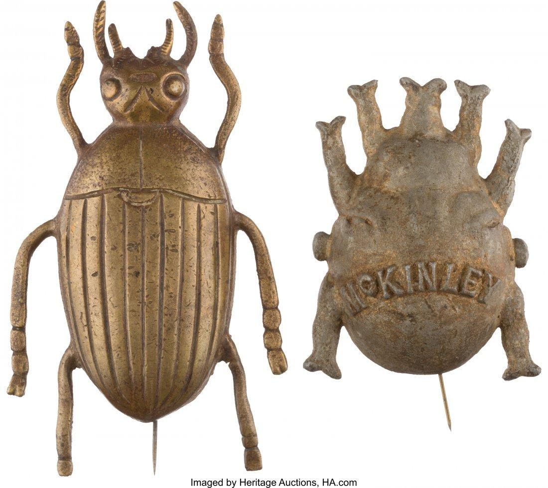 "43426: William McKinley: Two Massive Metal ""Gold Bug"" S"