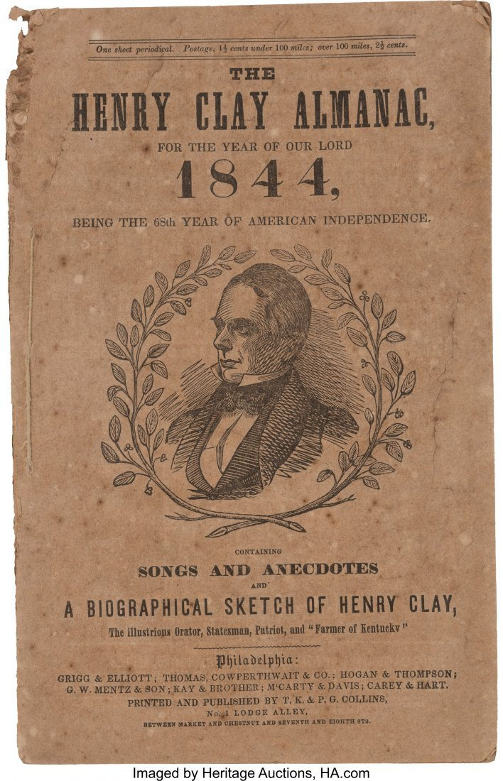 43042: Henry Clay: 1844 Campaign Songbook and Biography