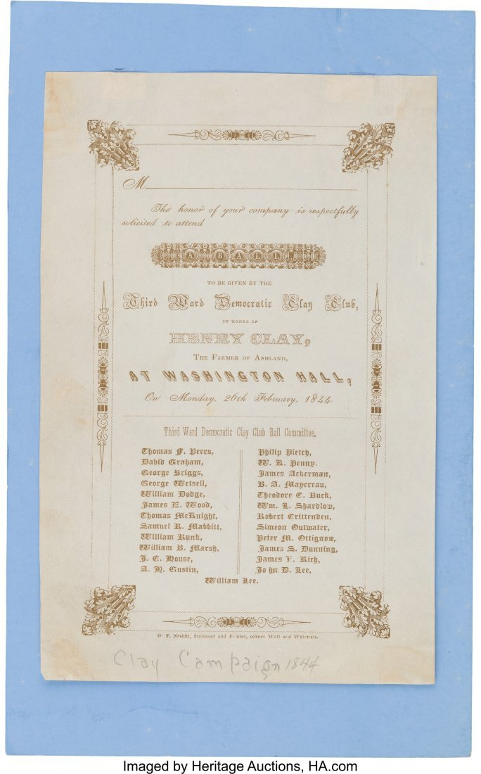 43043: Henry Clay: Lovely Engraved 1844 Ball Invitation