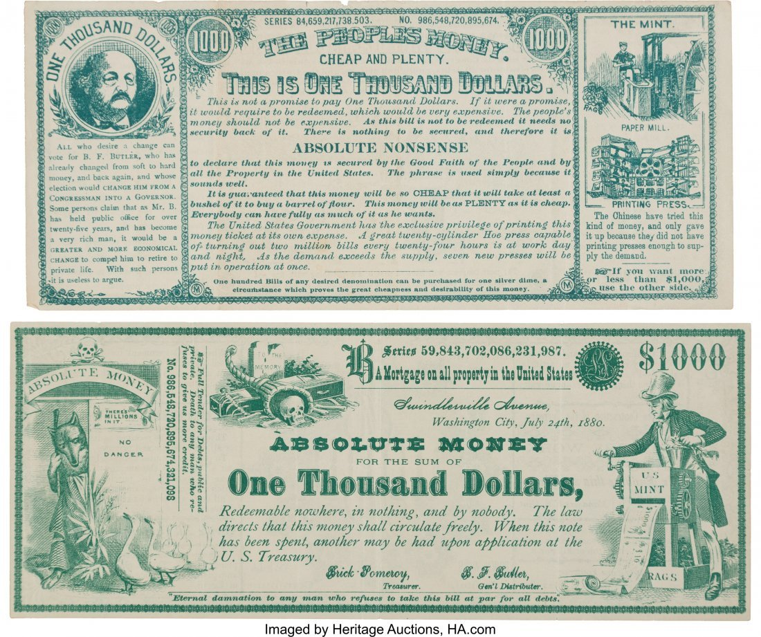 43359: Greenback Labor Party: Two 1880 Satirical Curren