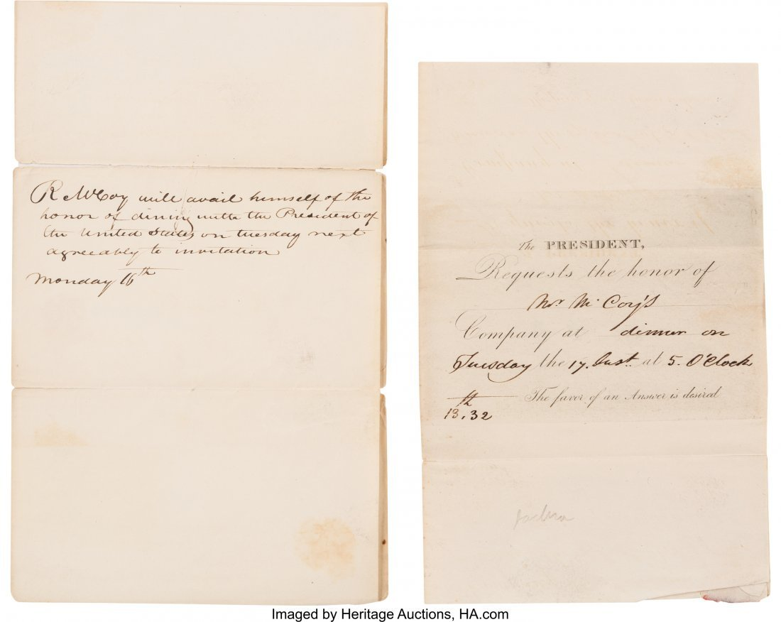 43048: Andrew Jackson: A Rare 1832 Invitation to Dine a