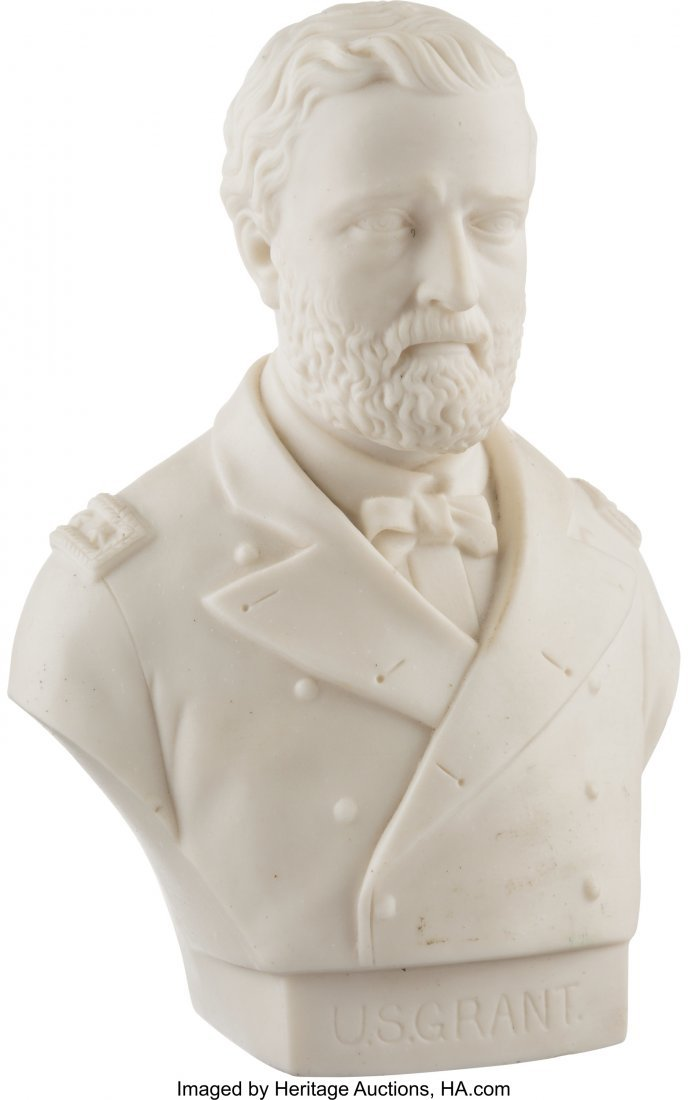 "43266: Ulysses S. Grant: Hollow Parian Bust. 7"" parian"