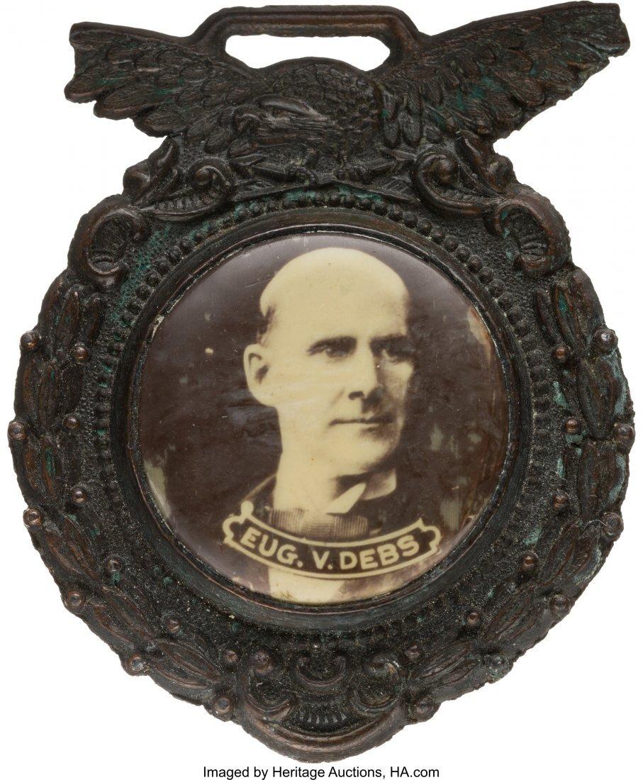 43435: Eugene V. Debs: Sepia Real Photo Watch Fob.  Unu