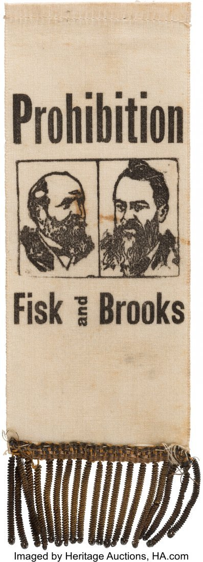 43375: Fisk & Brooks: Prohibition Party Jugate Ribbon.