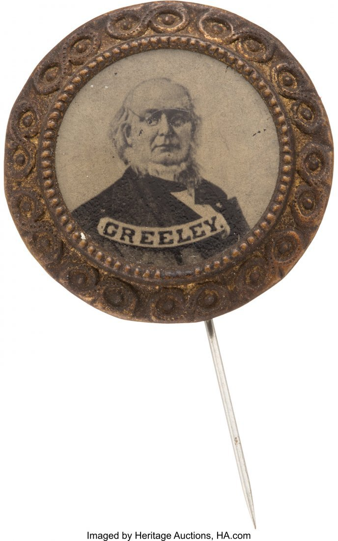 43280: Horace Greeley: Large Ferrotype Stickpin. Unlist