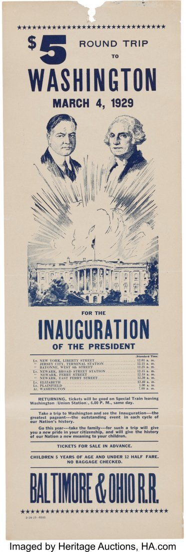43575: Herbert Hoover: Inauguration Train Timetable. 6""
