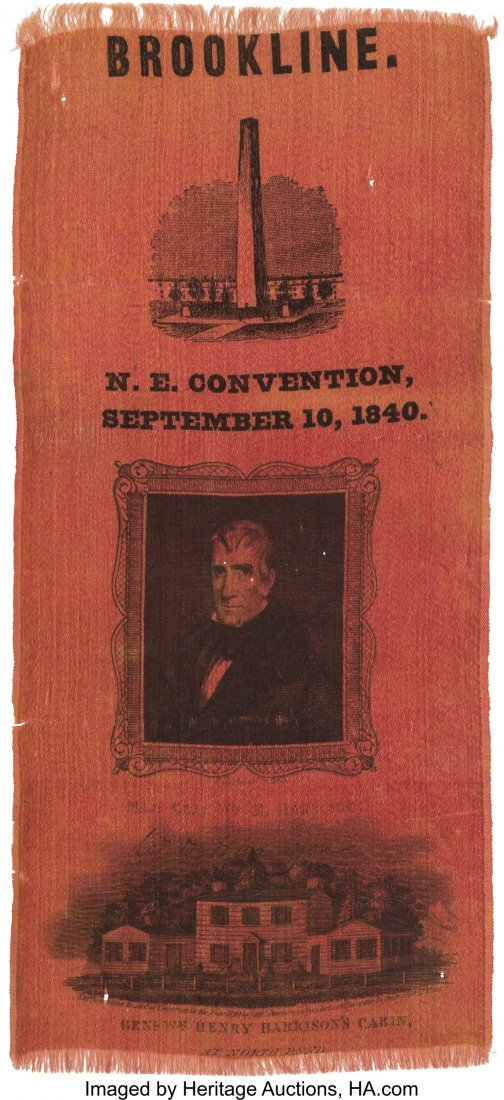 43074: William Henry Harrison: Dramatic Large 1840 Camp
