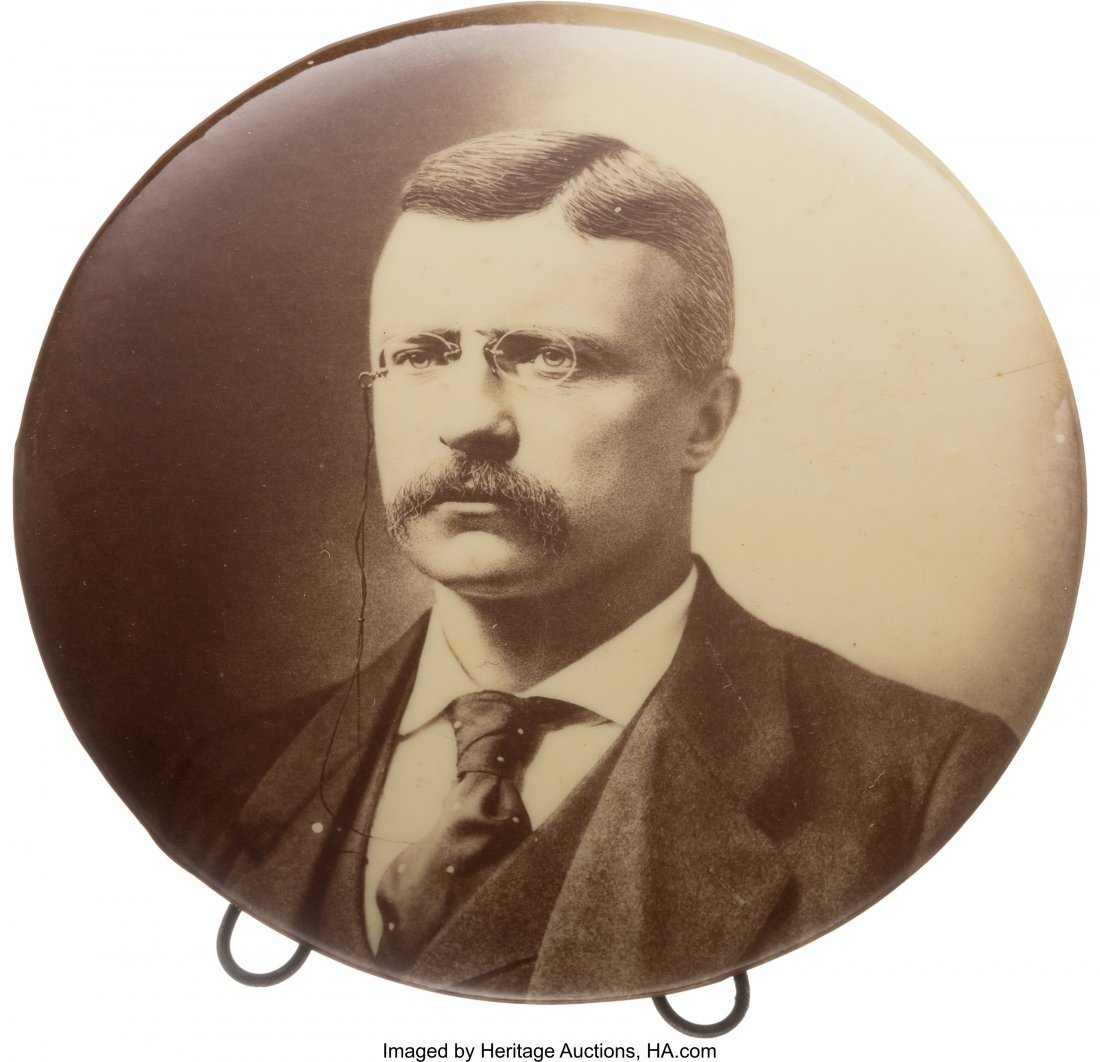 43460: Theodore Roosevelt: Large Sepia Real Photo Butto