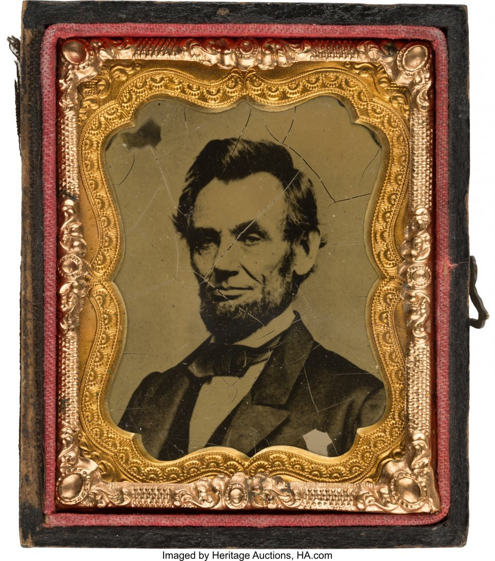 43173: Abraham Lincoln: Uncommon Pose in Tintype Form.