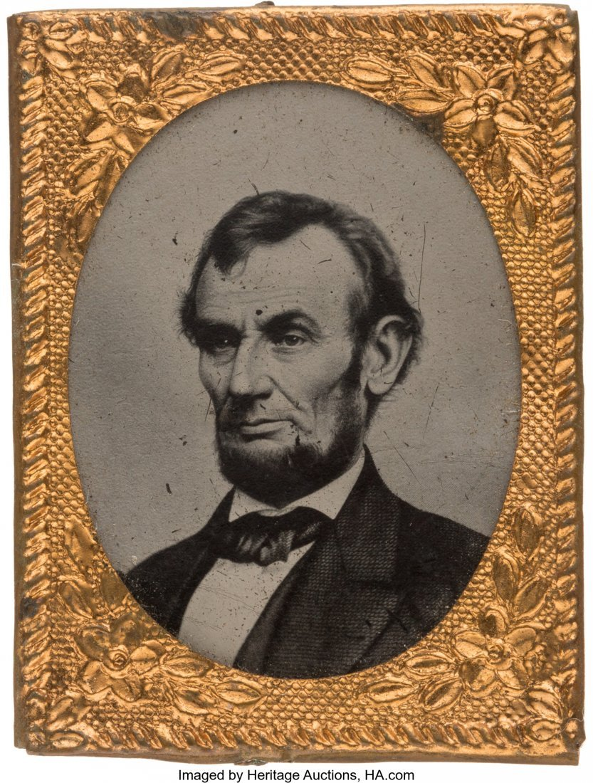 43176: Abraham Lincoln: Gem Ferrotype with $5 Bill Brad