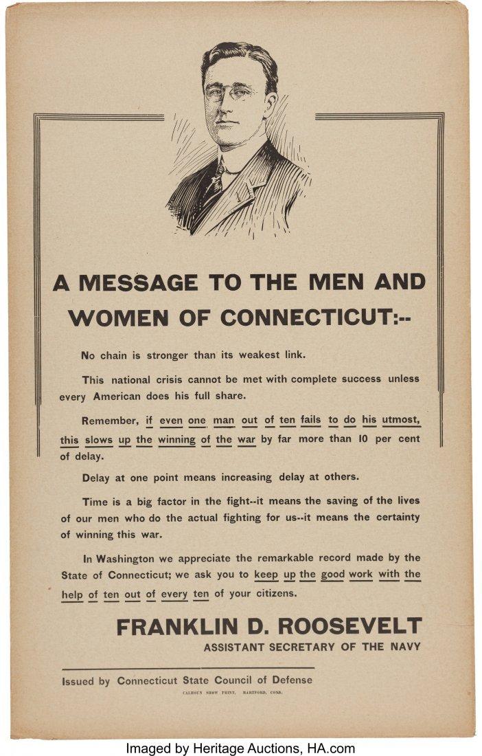 """43599: Franklin D. Roosevelt: WWI Portrait Poster. 14"""""""