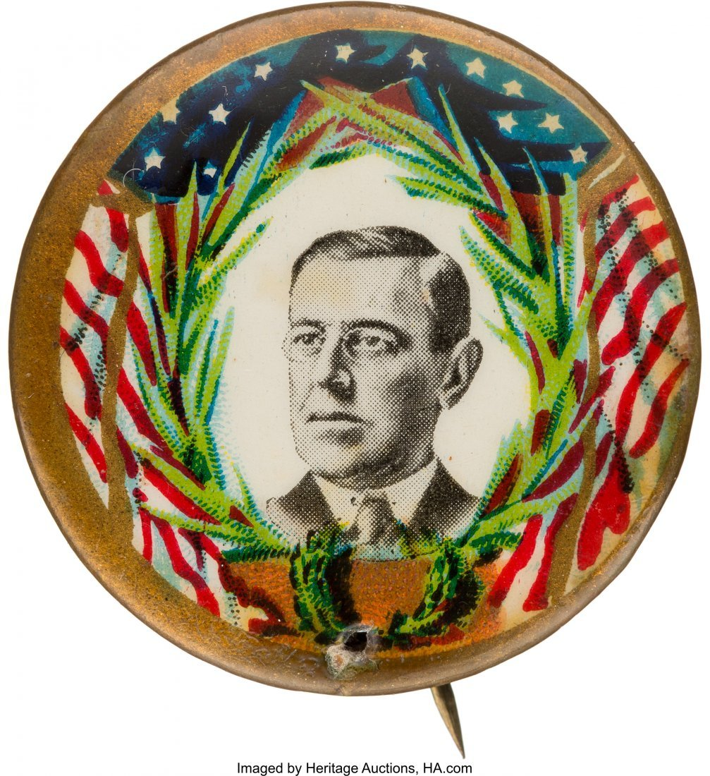 43509: Woodrow Wilson: Deceptively Rare Picture Pin.  1
