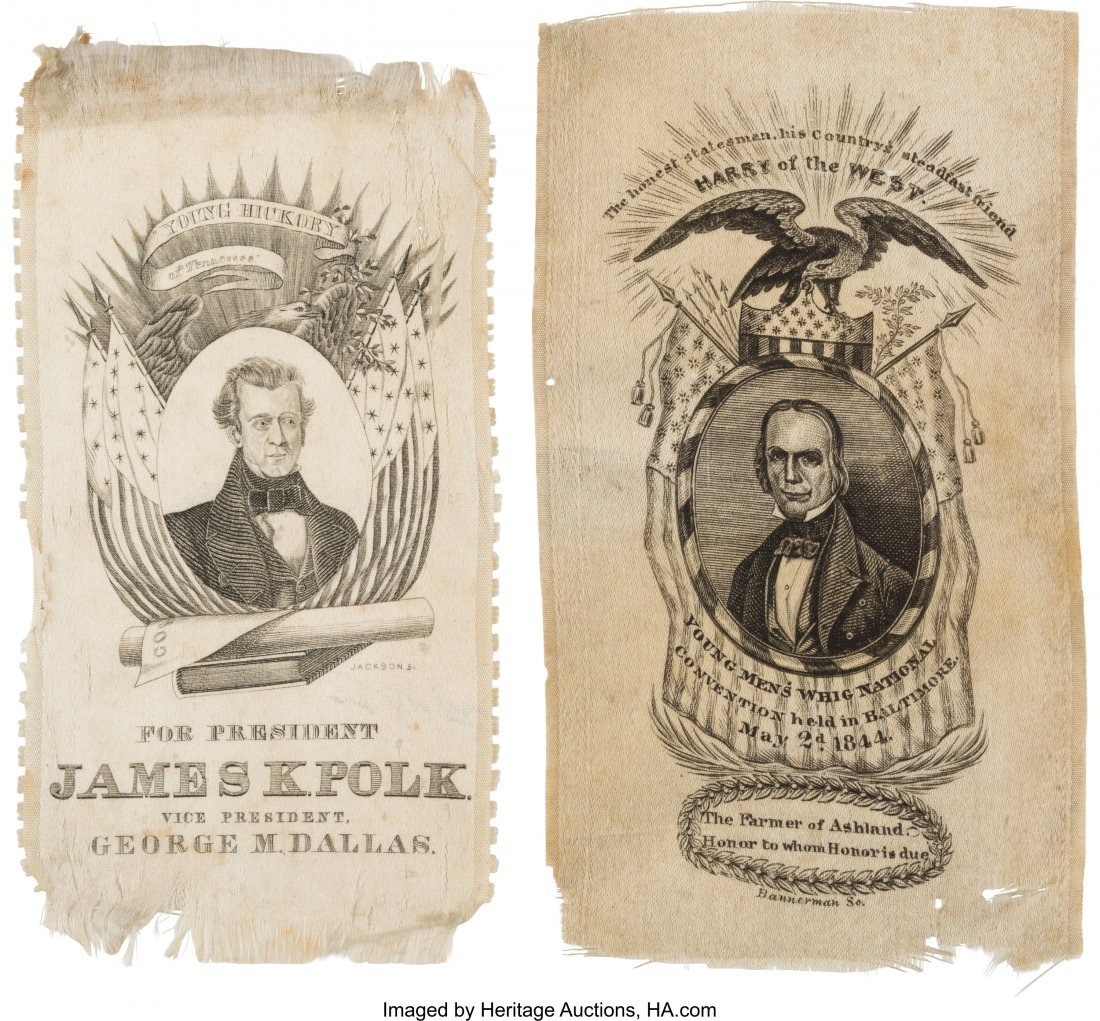 43082: James K. Polk and Henry Clay: A Pair of 1844 Sil