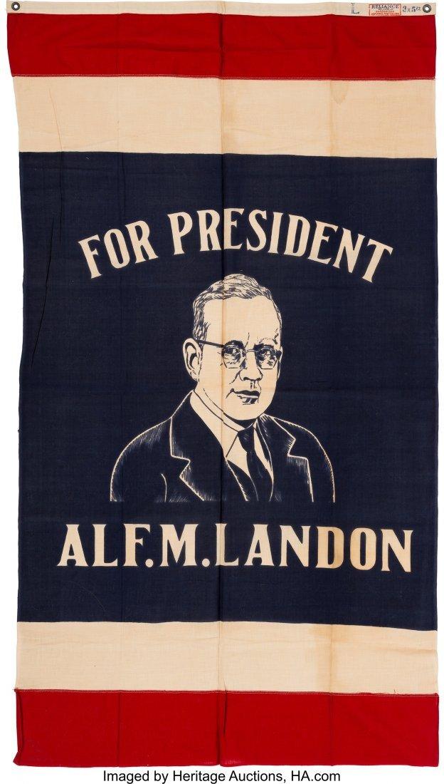 """43602: Alf Landon: Colorful Portrait Banner. 34"""" x 62"""""""