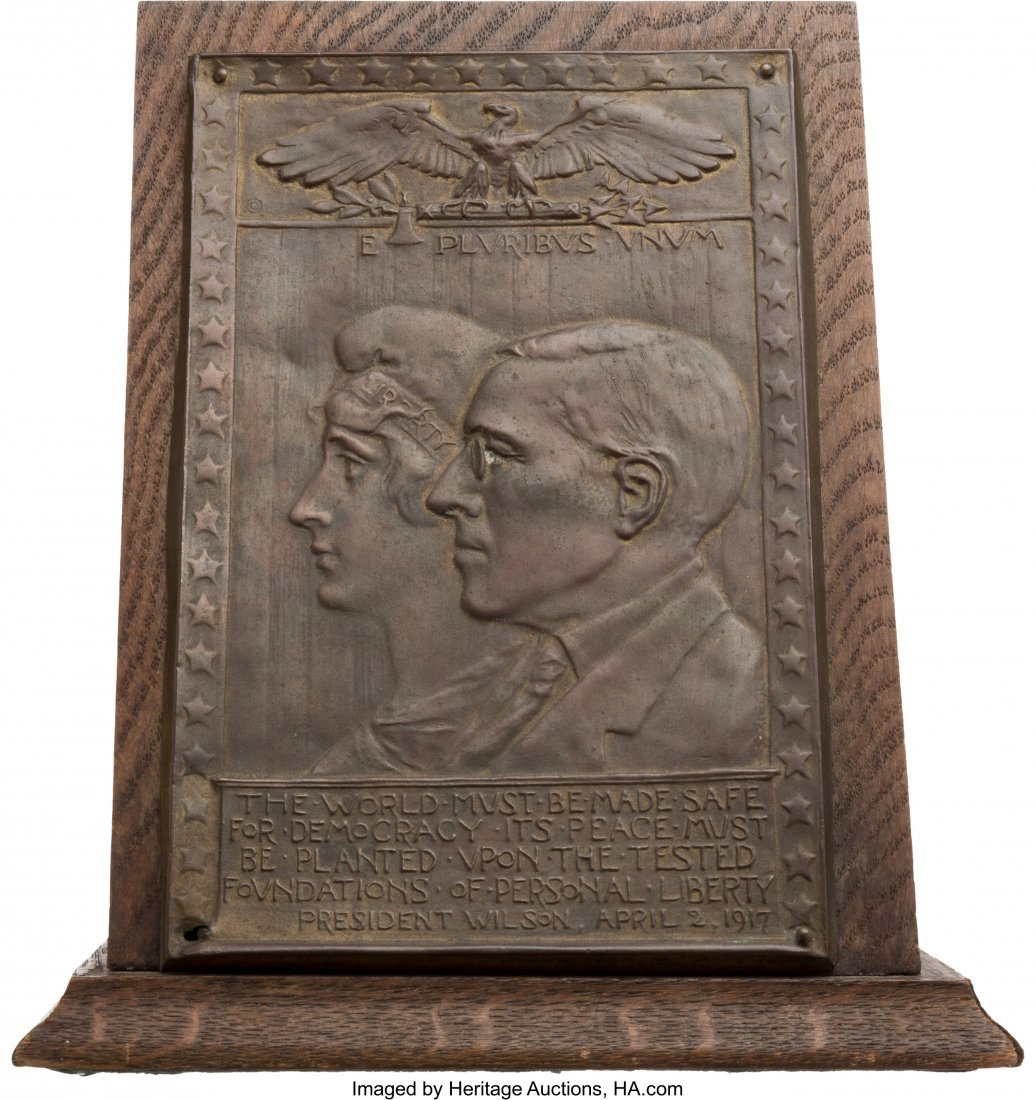 43513: Woodrow Wilson: World War I Patriotic Metal Plaq