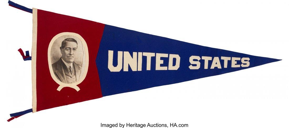 43514: Woodrow Wilson: Giant Portrait Pennant. Very imp
