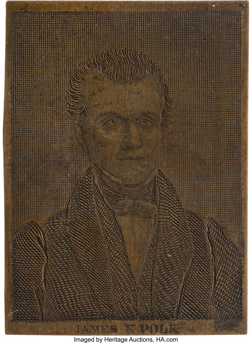 43084: James K. Polk: Rare Engraved Miniature Copper Pl