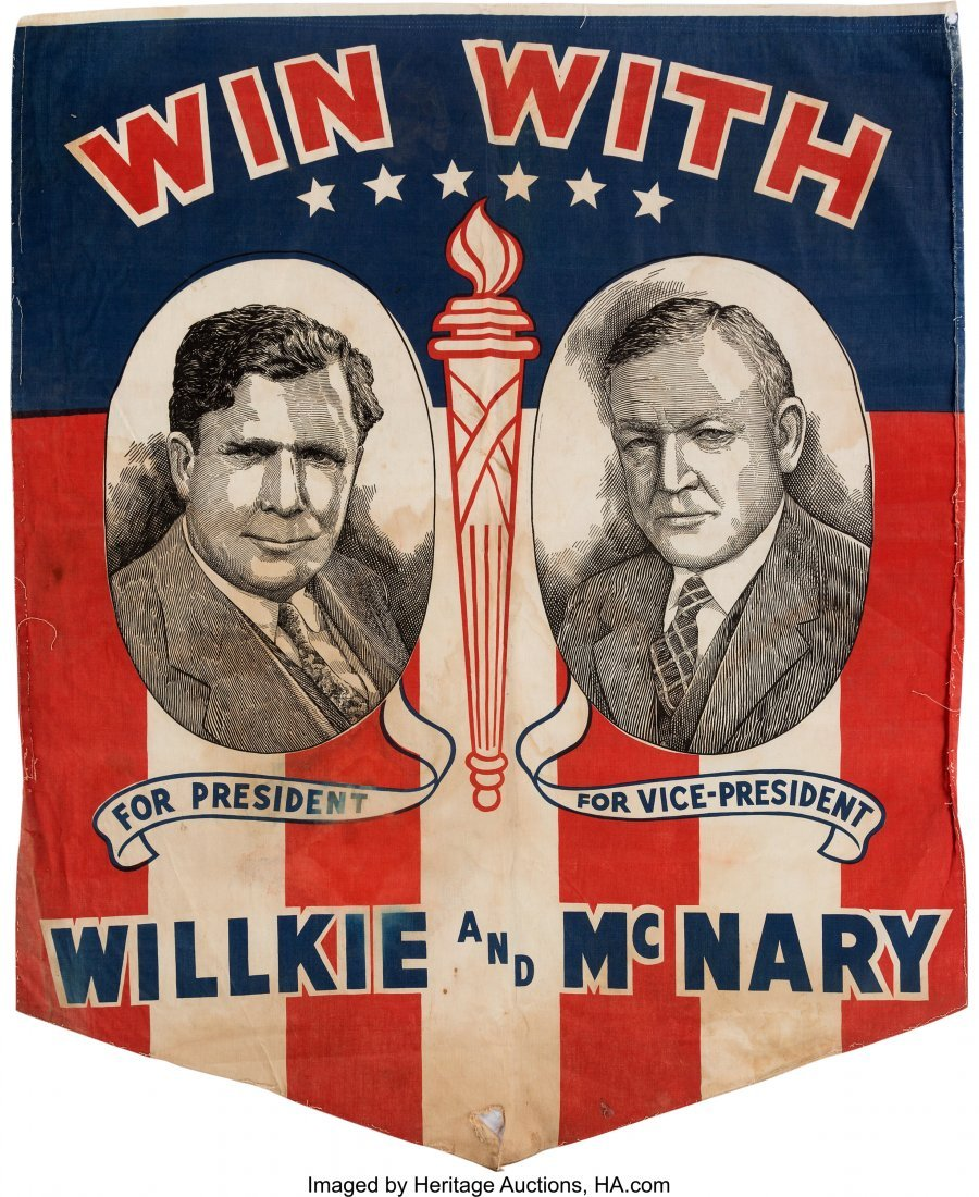 43606: Willkie & McNary: Very Rare Jugate Cotton Banner