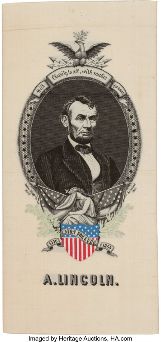 43180: Abraham Lincoln: Imposing Huge Woven Silk 1865 M
