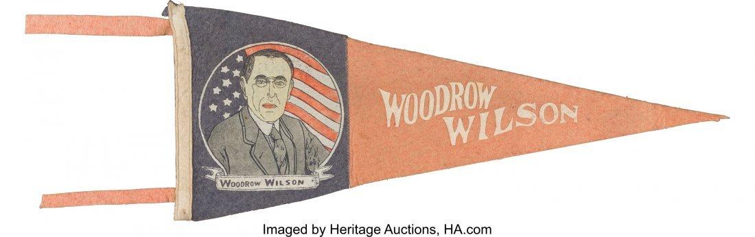 "43516: Woodrow Wilson: Rare Portrait Pennant. 23"" x 9"""