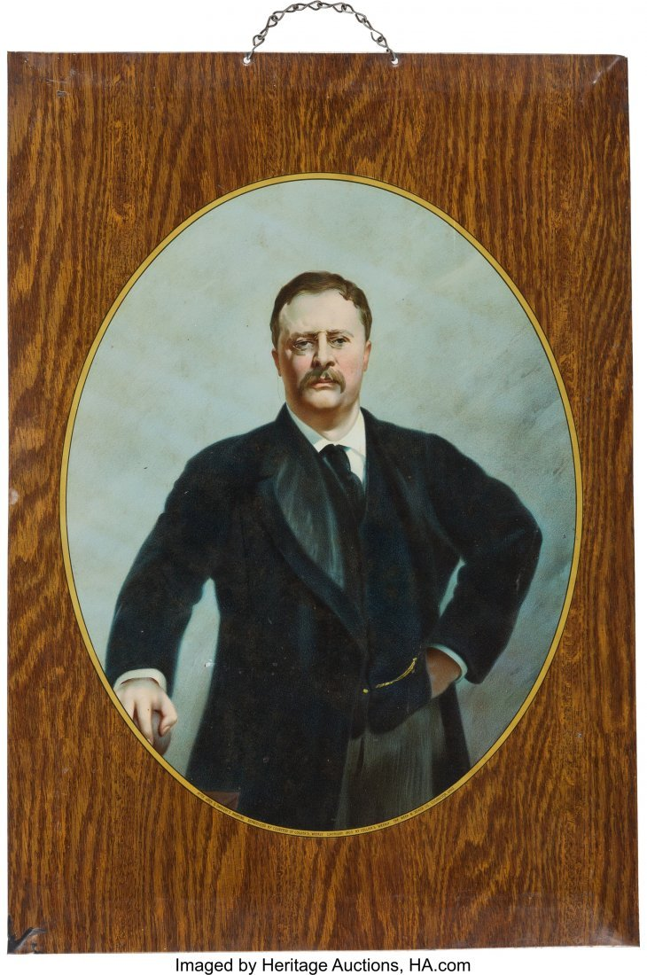 43469: Theodore Roosevelt: Lithographed Tin Wall Hangin