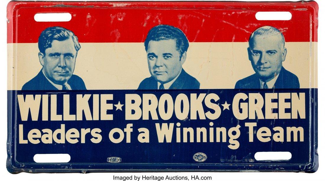 43607: Willkie-Brooks-Green: A Scarce Coattail Metal Li