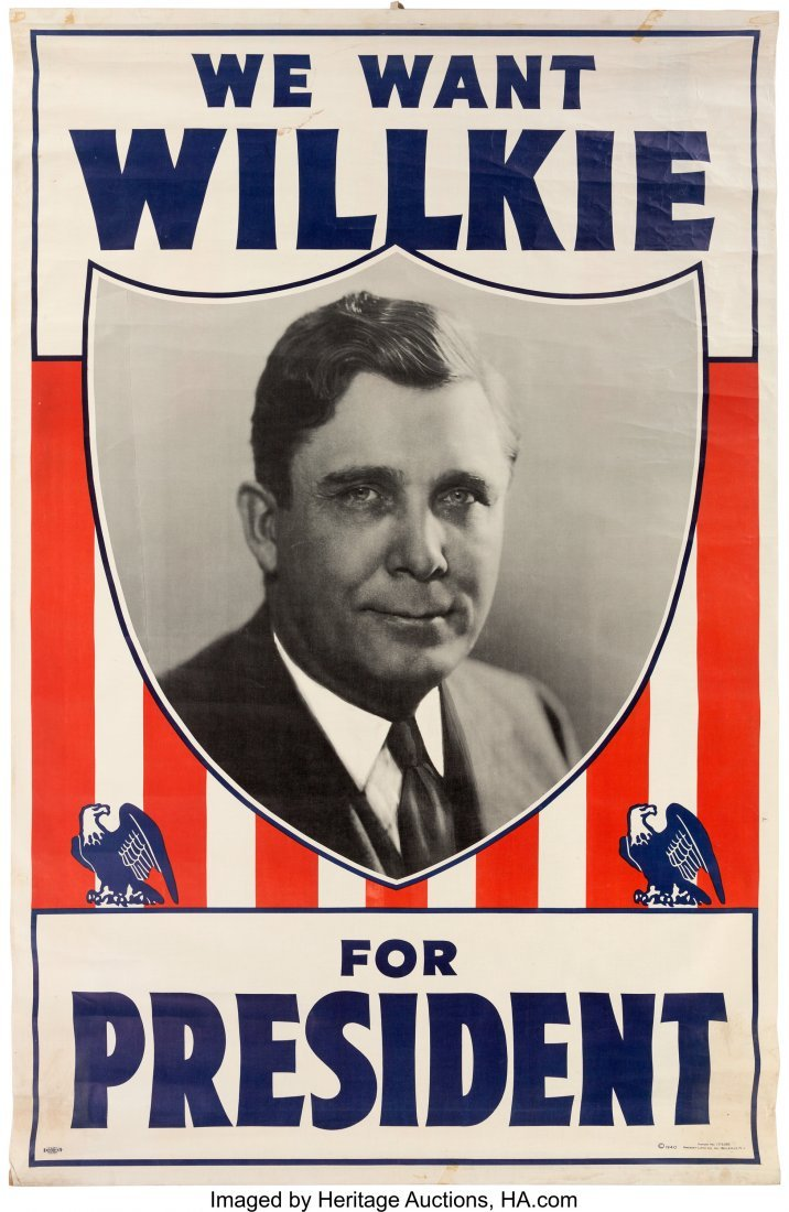 """43609: Wendell Willkie: Large Headquarters Banner. 39"""""""